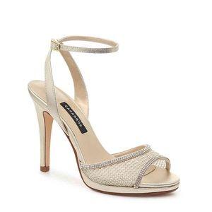 "Adjustable ankle strap 4½"" covered stiletto heel"